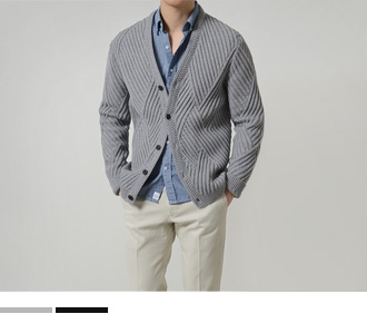 Grid Wool Cardigan